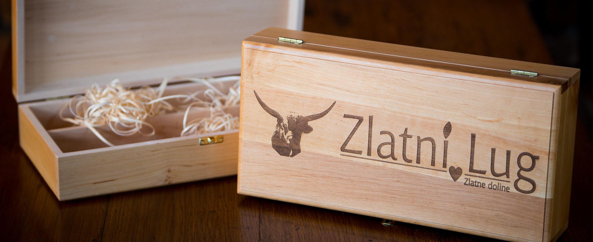 Kutija za vino s logom Zlatnog Luga